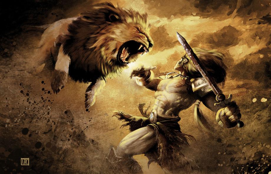 gladiator vs lion
